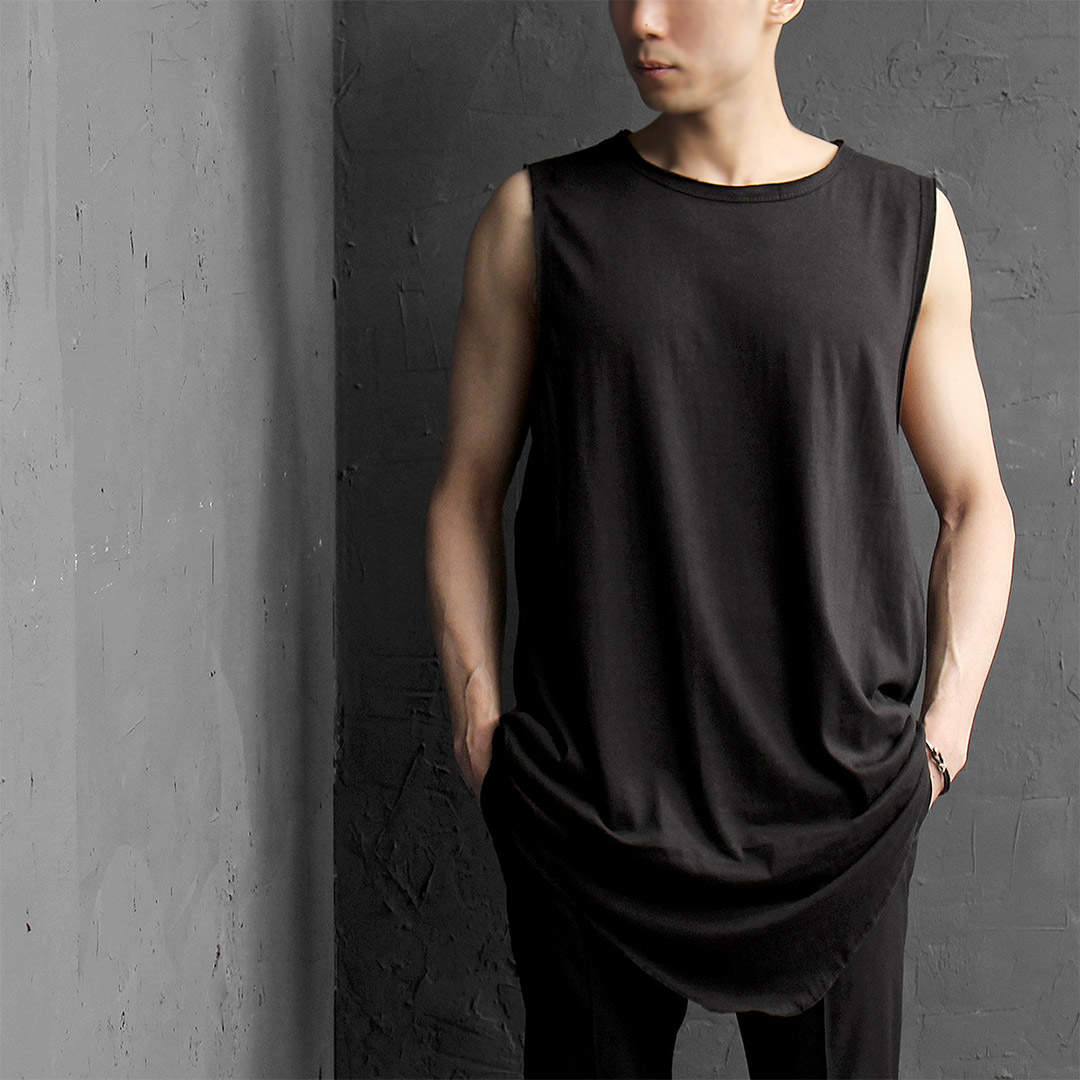 Big Oversized Triangle Diagonal Hem Vintage Cut Tank 019