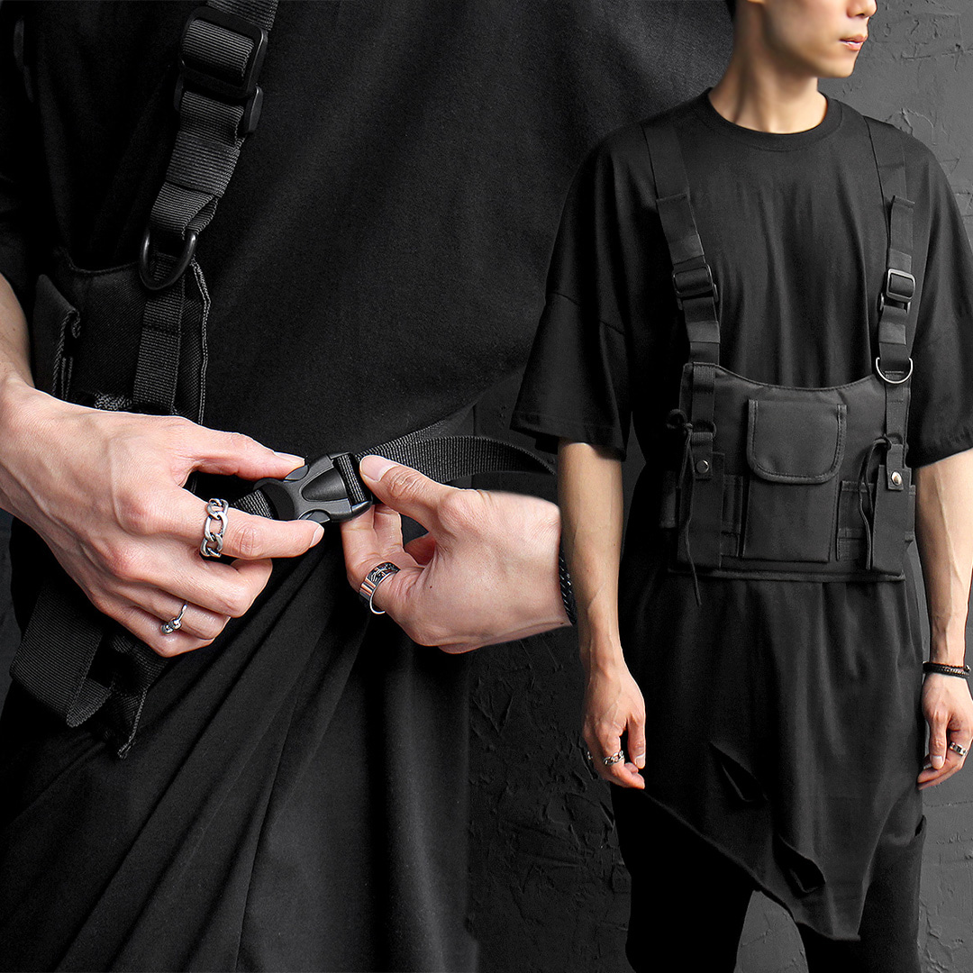 Techwear Look Buckle Webbing Belt Pocket Bag Vest 019