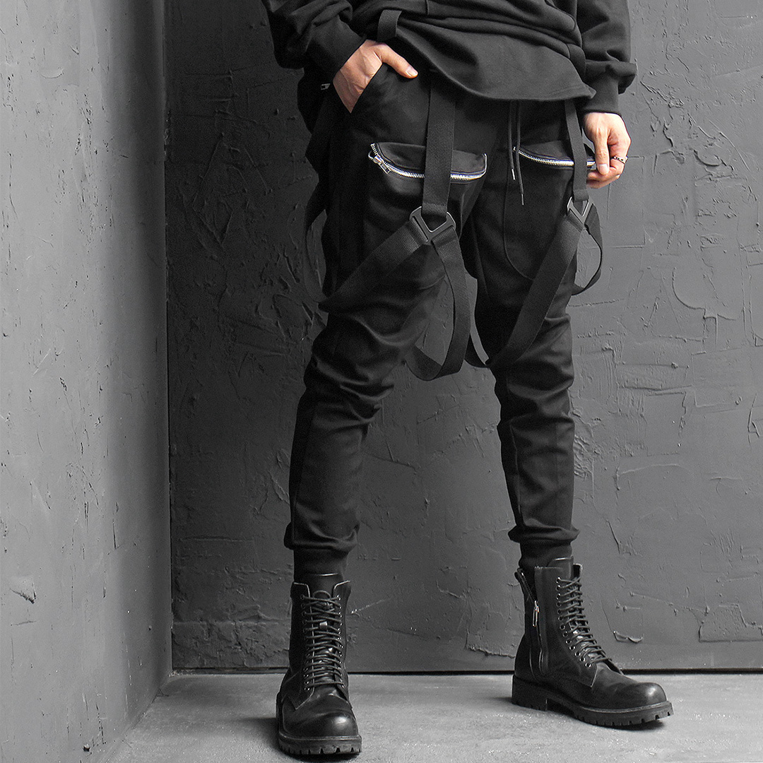 Techwear X Strap Draped Zippered Big Cargo Pocket Joggers 031