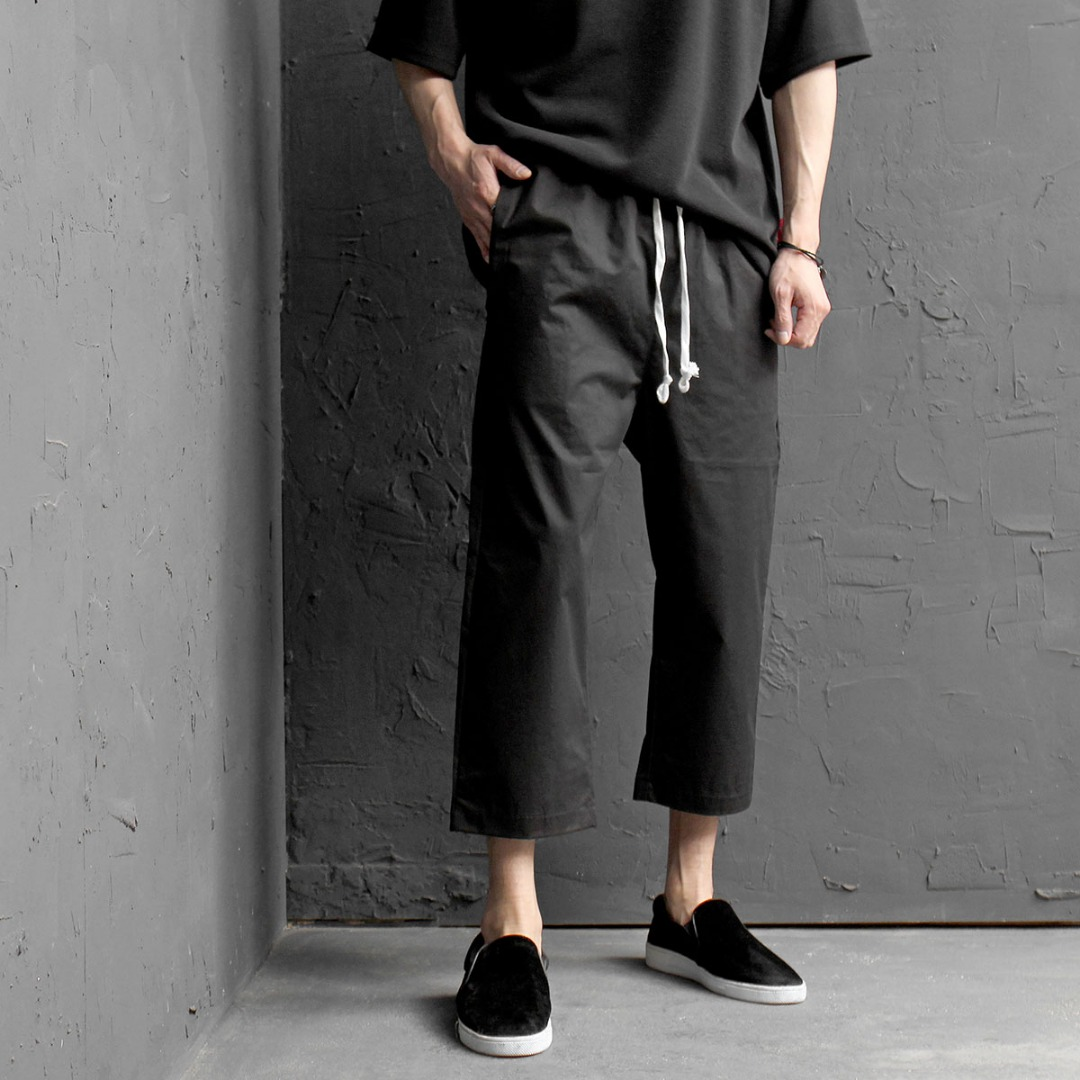 Drop Crotch 4/5 Baggy Color Crop Sweatpants 409