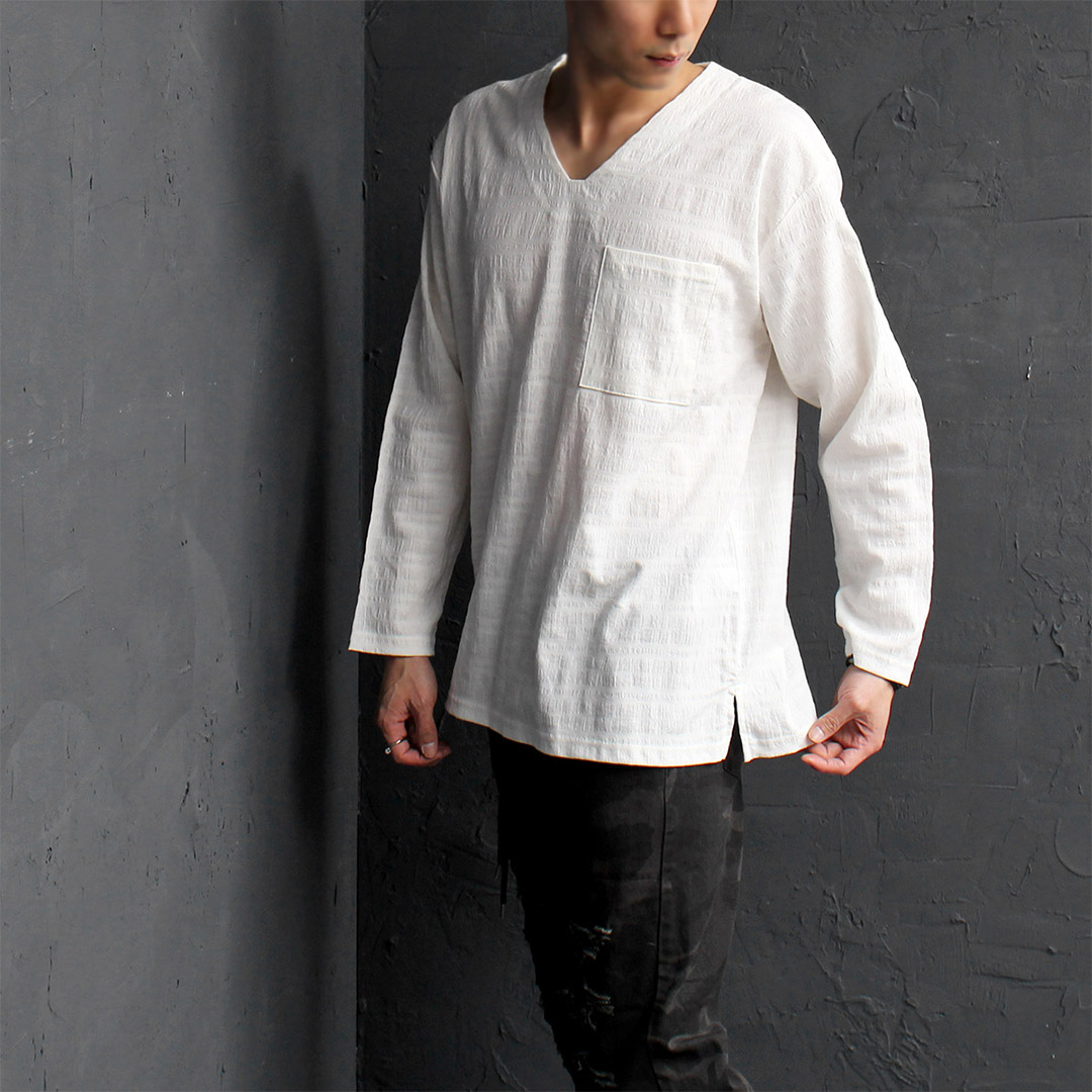 Loose Fit V Neck Boxy Blended Linen Long Sleeve Tee 099