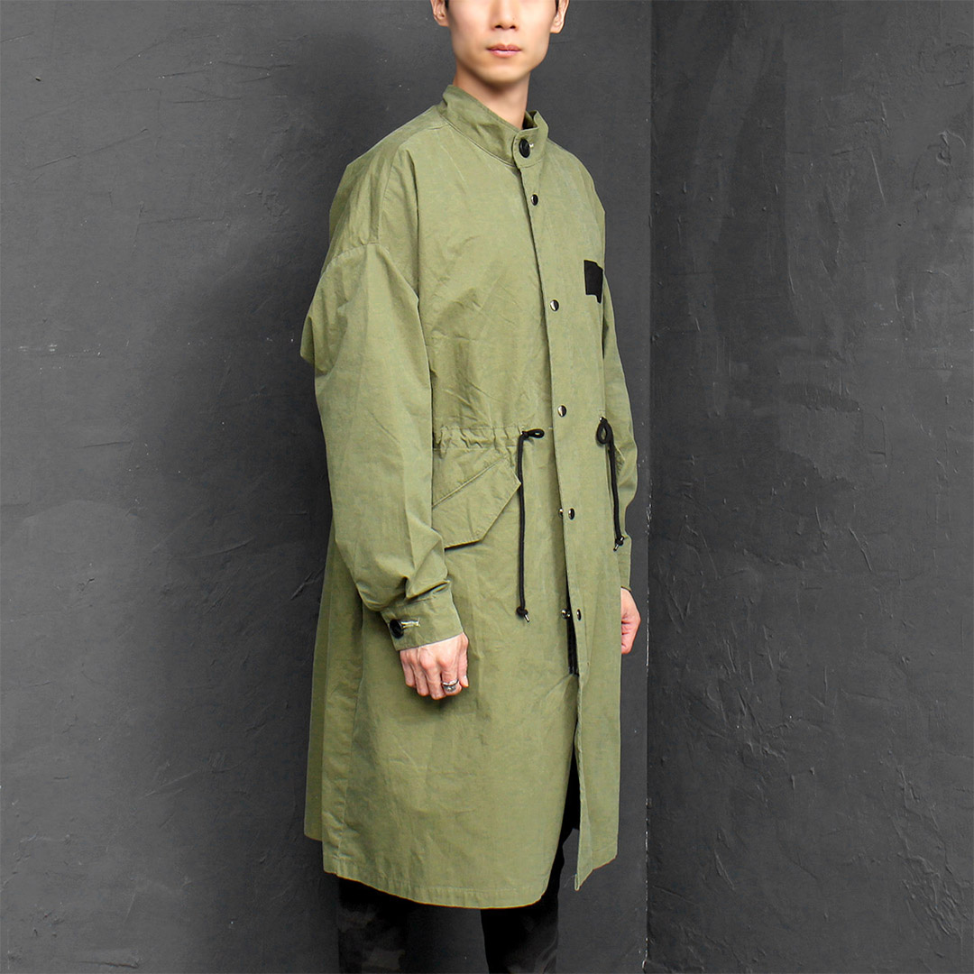Loose Fit Military Look Zip Up Long Jacket 032