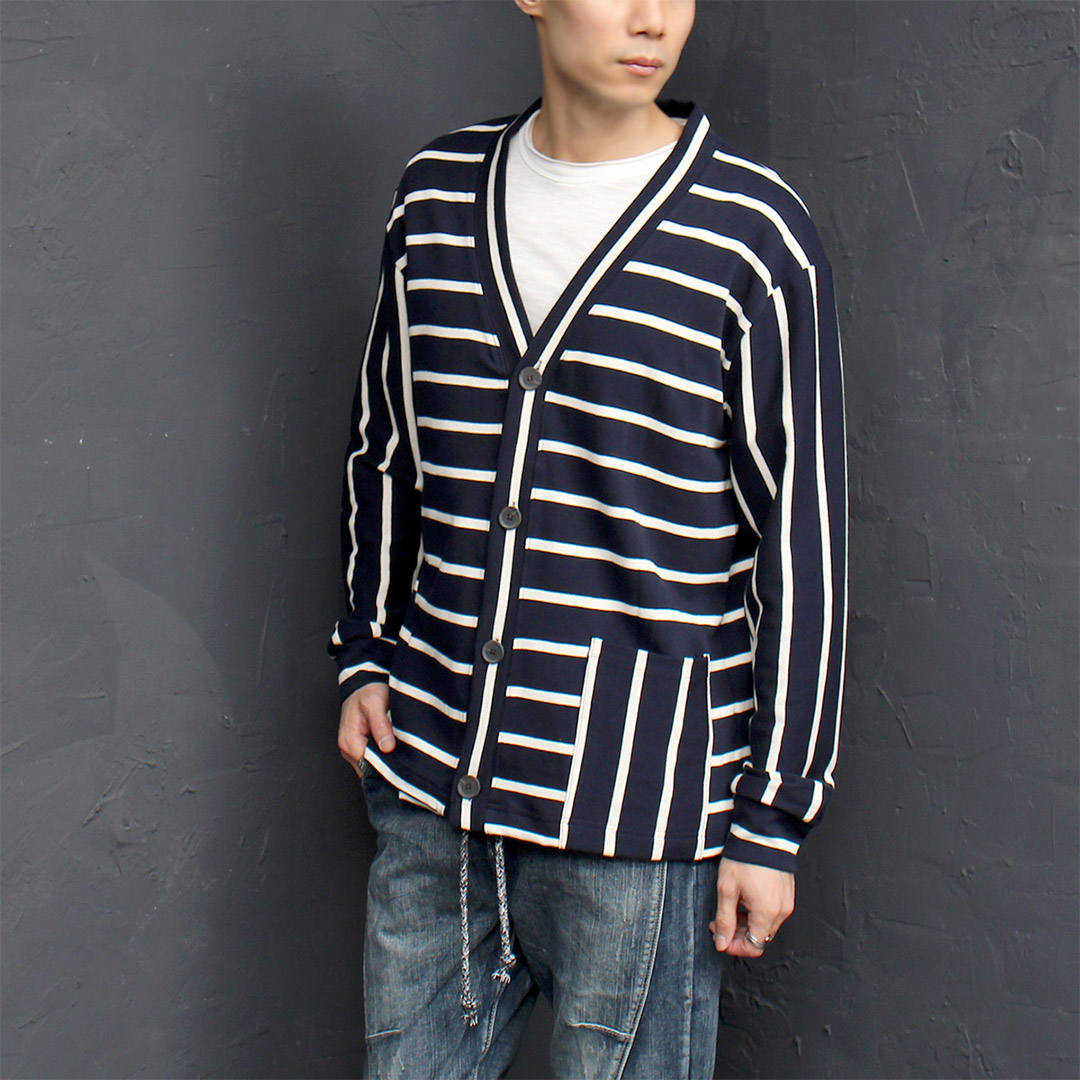 Loose Fit Striped One Pocket Cardigan 042