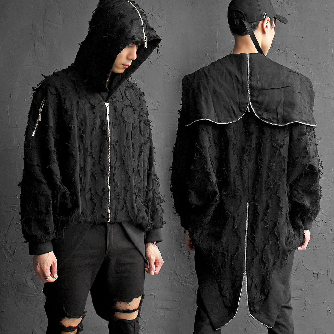Avant garde Grunge Zipper Tail Split Hood Jacket 026