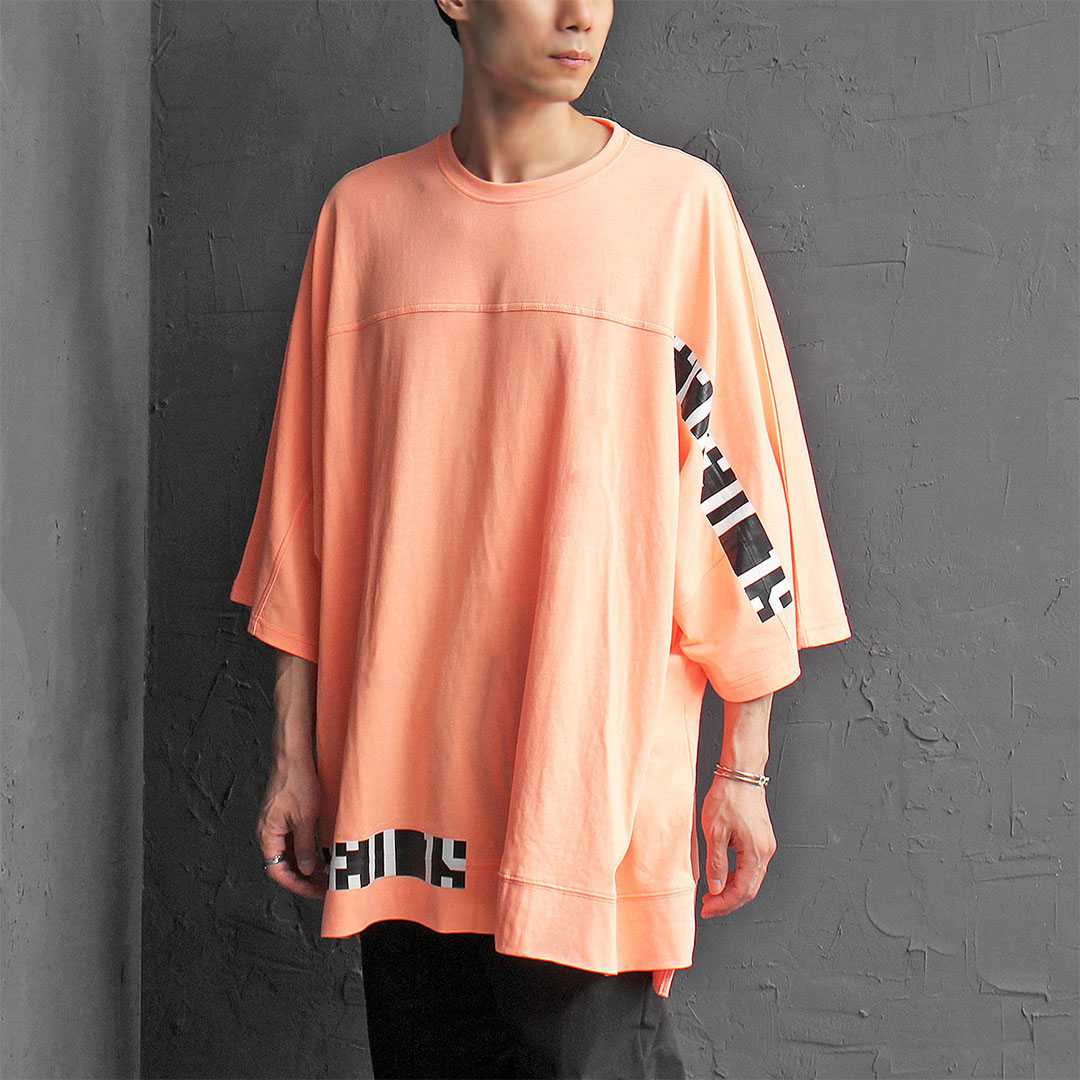 Unbalanced Hem Draped Oversized Printing Short Sleeve Tee 375