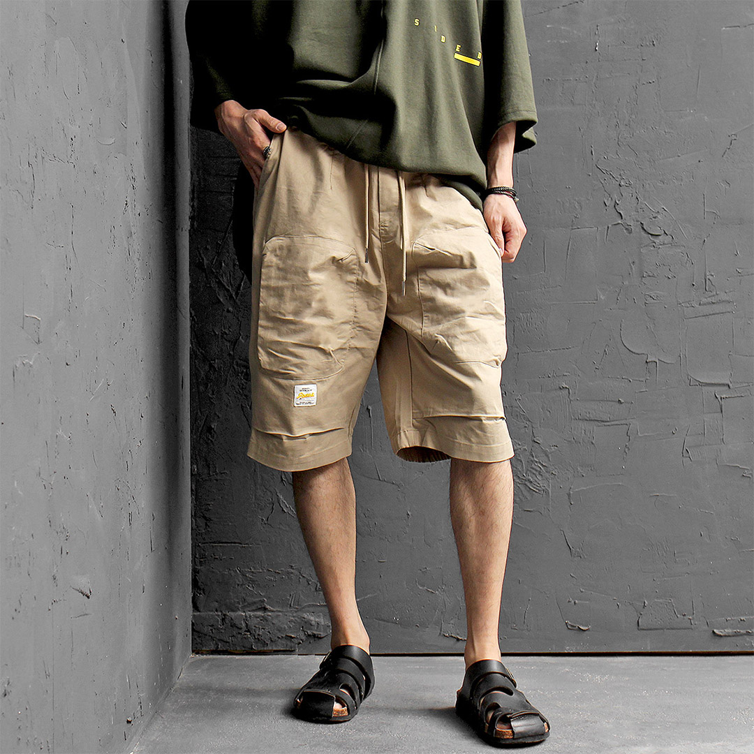 Elastic Waist Zipper Cargo Pocket Half Pants 416
