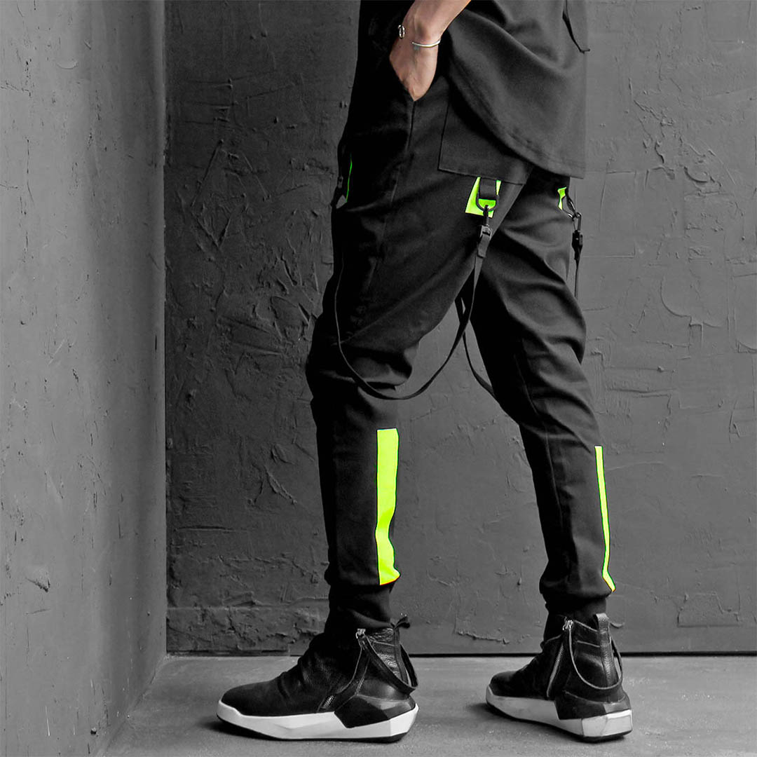 Techwear Buckle Strap Draped Slim Joggers 434