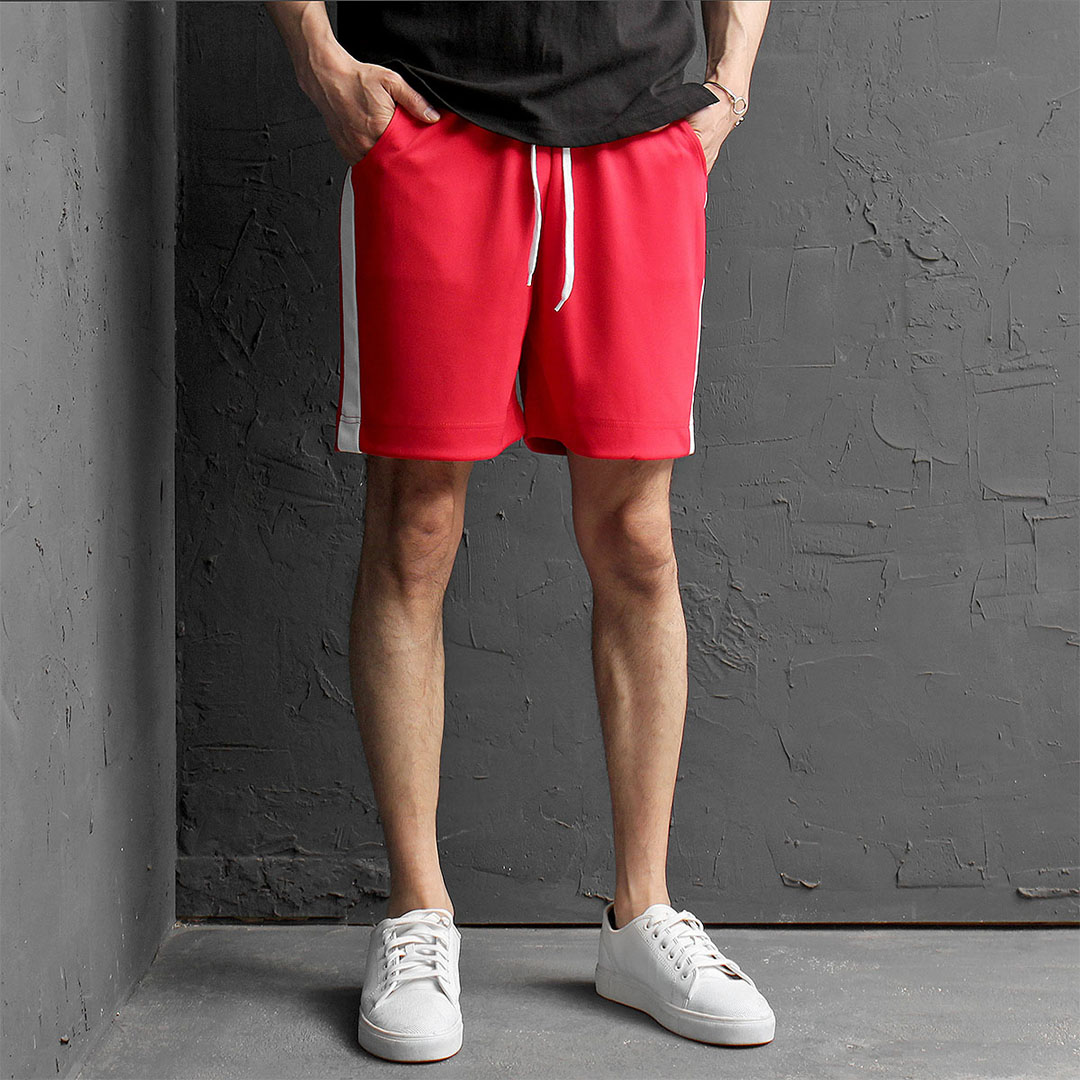 Contrast Side Line Jersey Gym Wear Shorts 452
