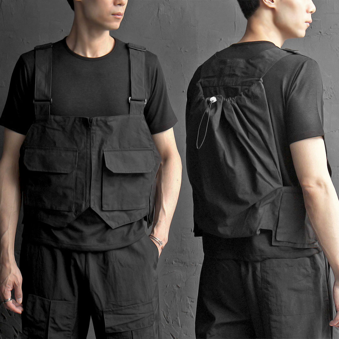 Techwear Look Back Pack Pocket Bag Vest 300
