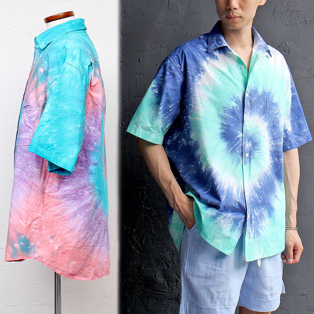 Water Color Washed Short Sleeve Shirt 473