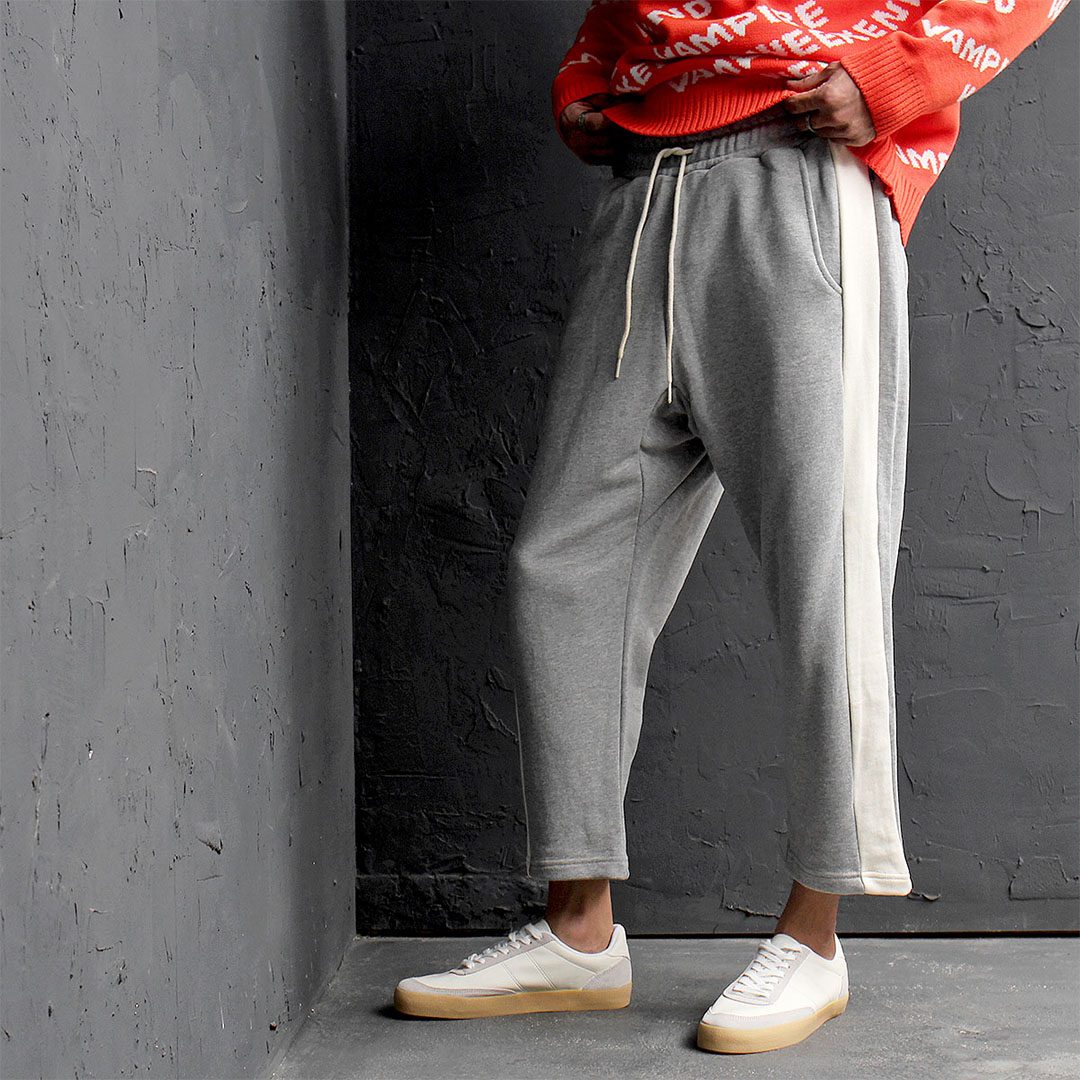 Loose Fit Contrast Side Line Baggy 4/5 Sweatpants 529