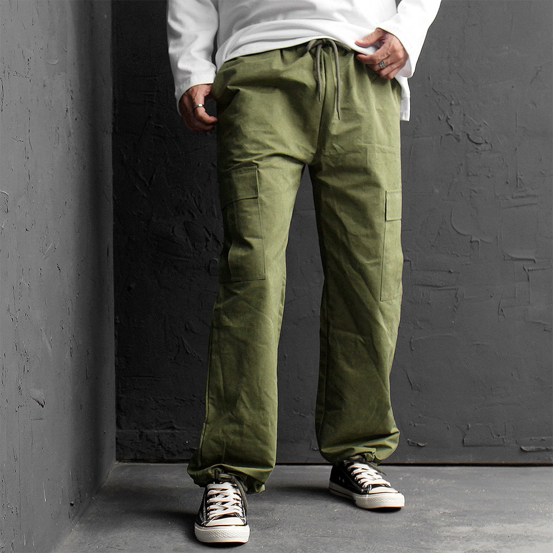 Cargo Pocket Elastic Waistband Straight Pants 547