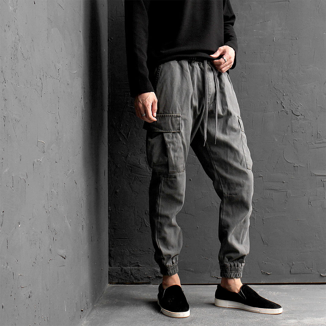 Slim Fit Cargo Pocket Elastic Waistband Joggers 543