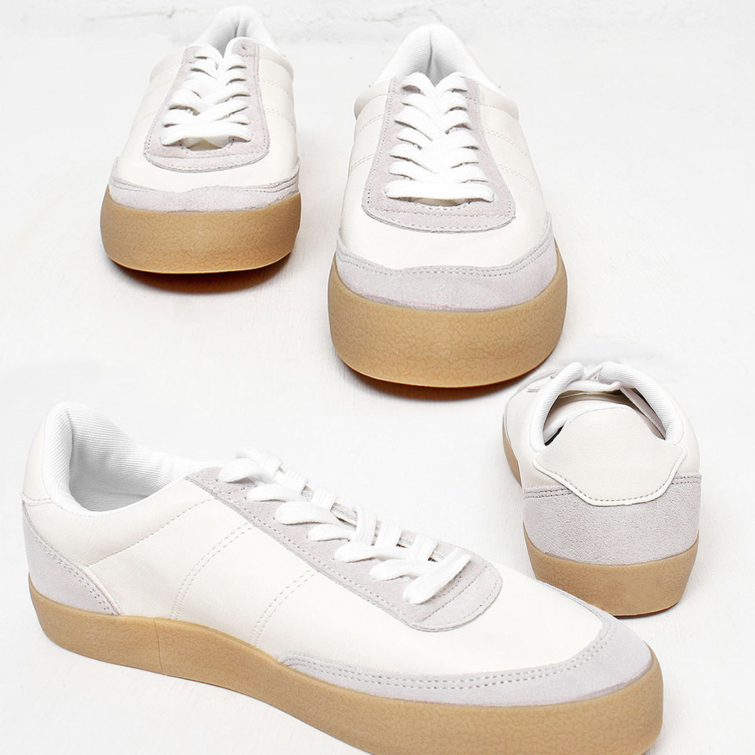 Combi Leather Lace Up Sneakers 534
