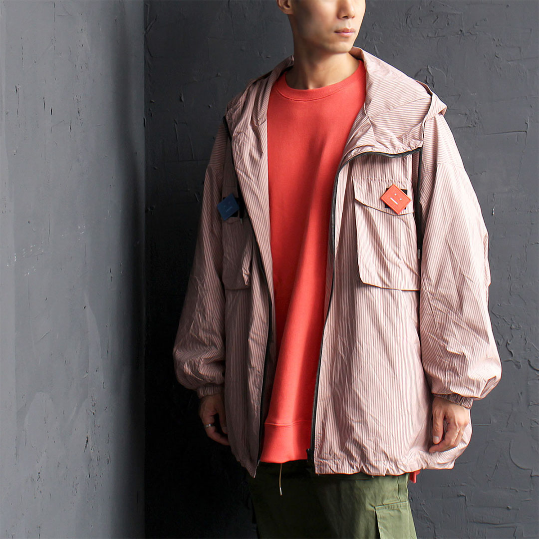Oversized Loose Fit Striped Windbreaker Jacket 569