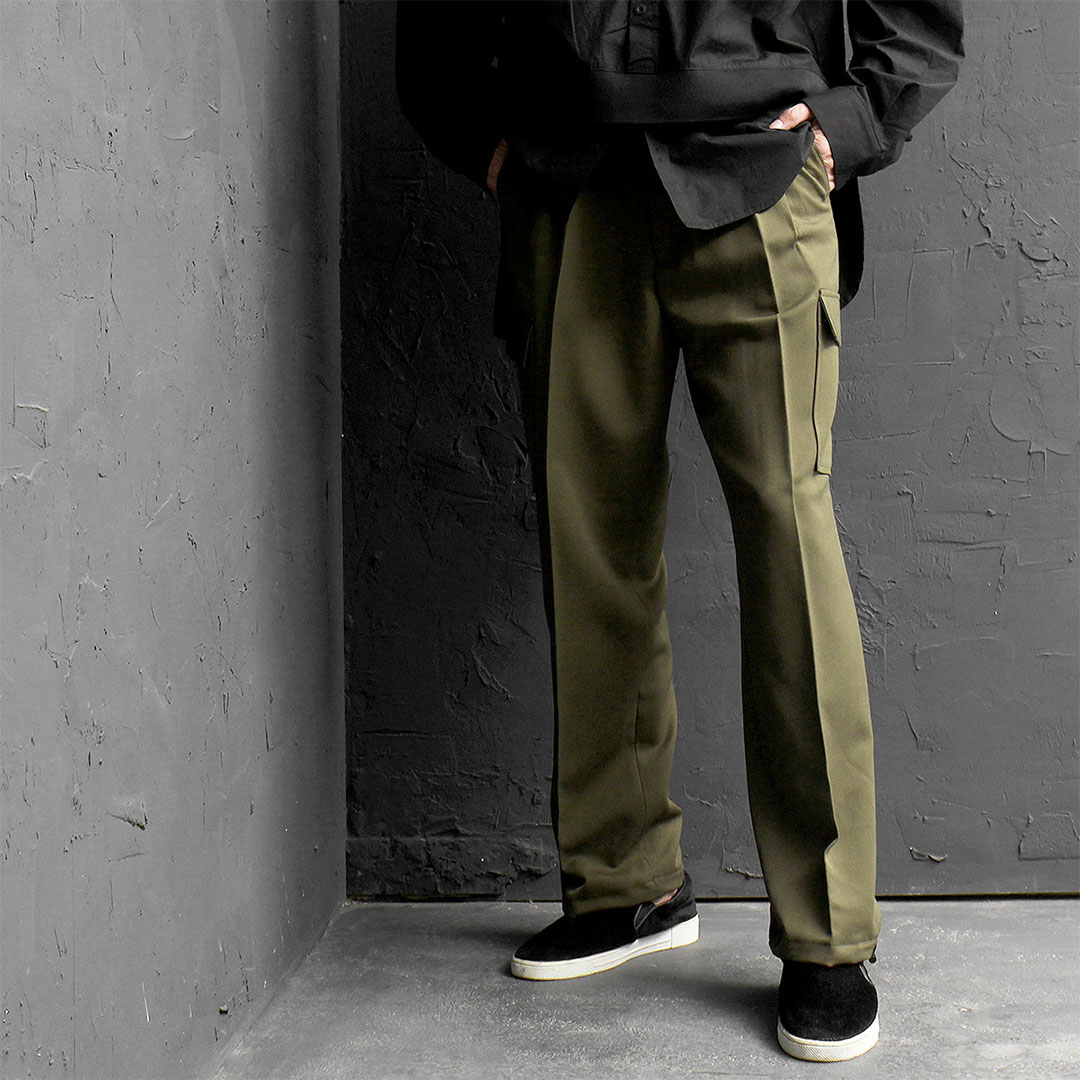 Cargo Pocket Drawstring Hem Slacks Pants 584