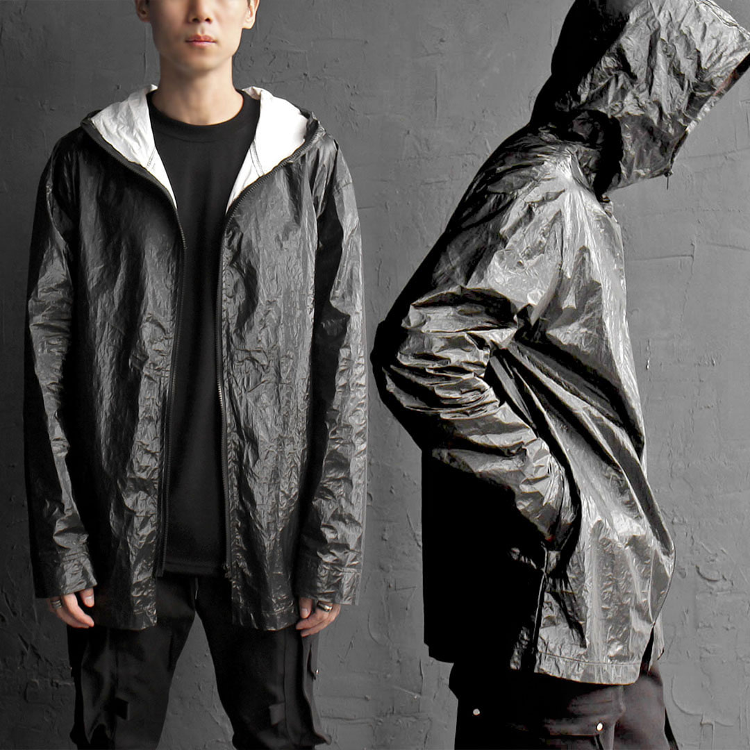 Water Proof Black Hood Zip Up Rain Jacket 600