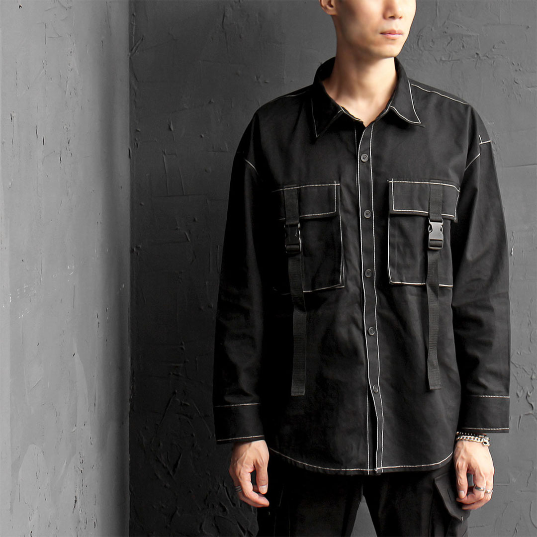 Buckle Strap Contrast Stitched Trimming Boxy Shirt 573