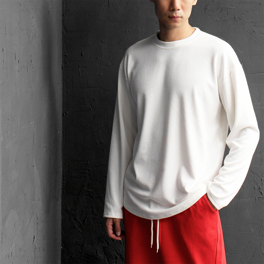 Loose Fit Normal Coating Knit Long Sleeve Tee 625