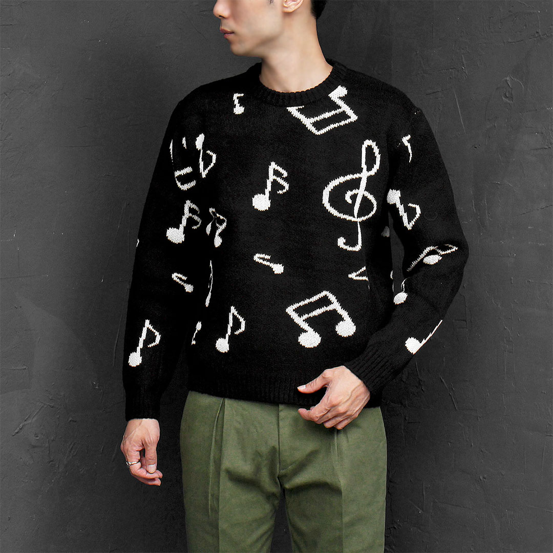 Loose Fit Music Sign Knit Jumper 683