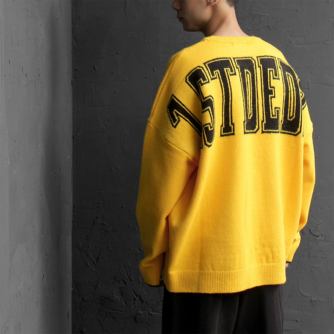 Over-sized Back Graphic Printing Wide Knit Sweatshirt 631