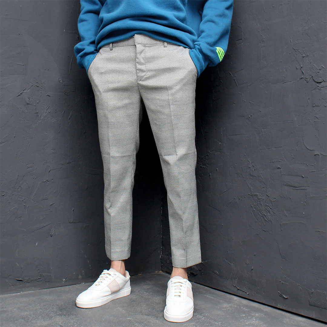 Split Hem Hound's Tooth Check Slacks Pants 702