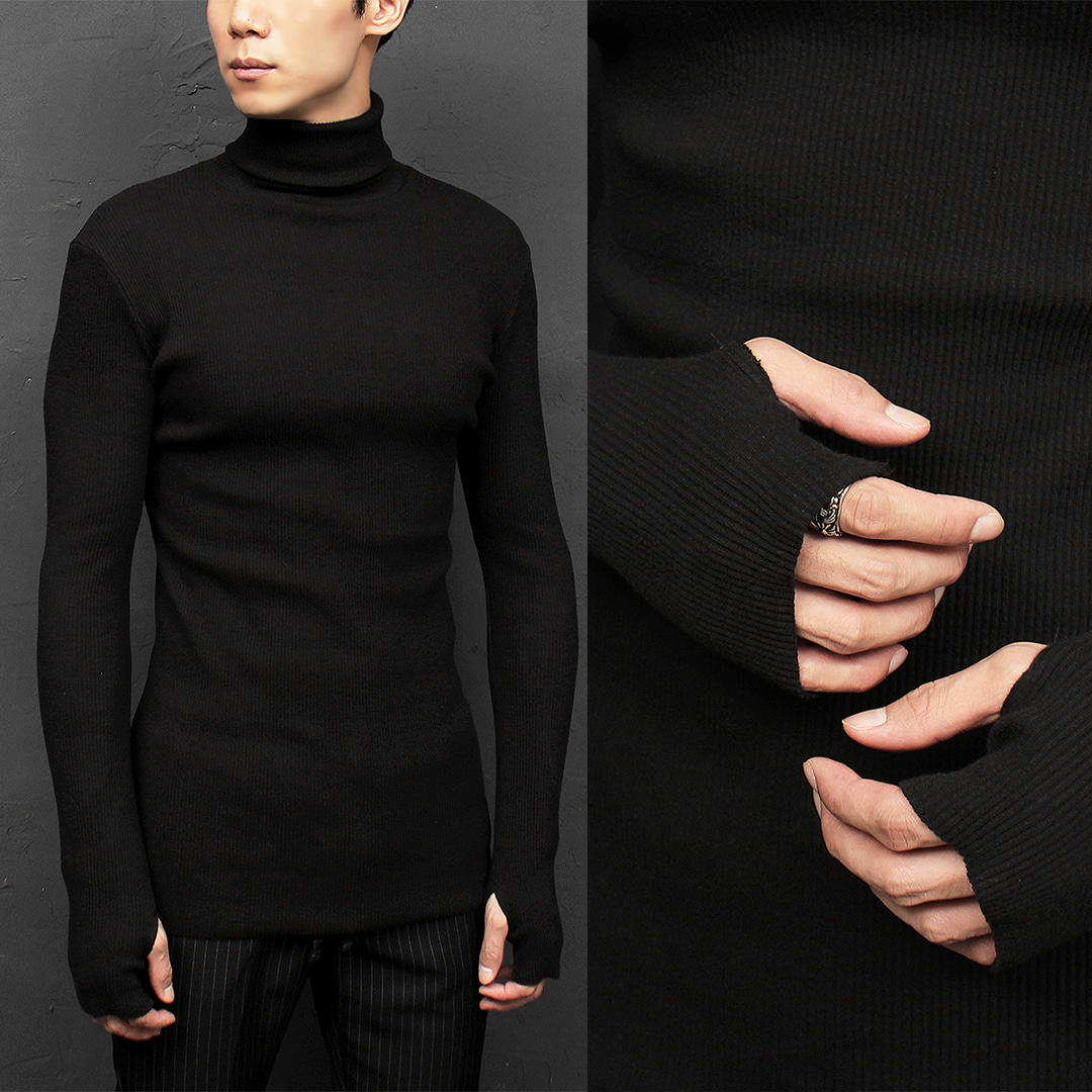 Black Corduroy High Neck Hand Warmer Long Tee 049