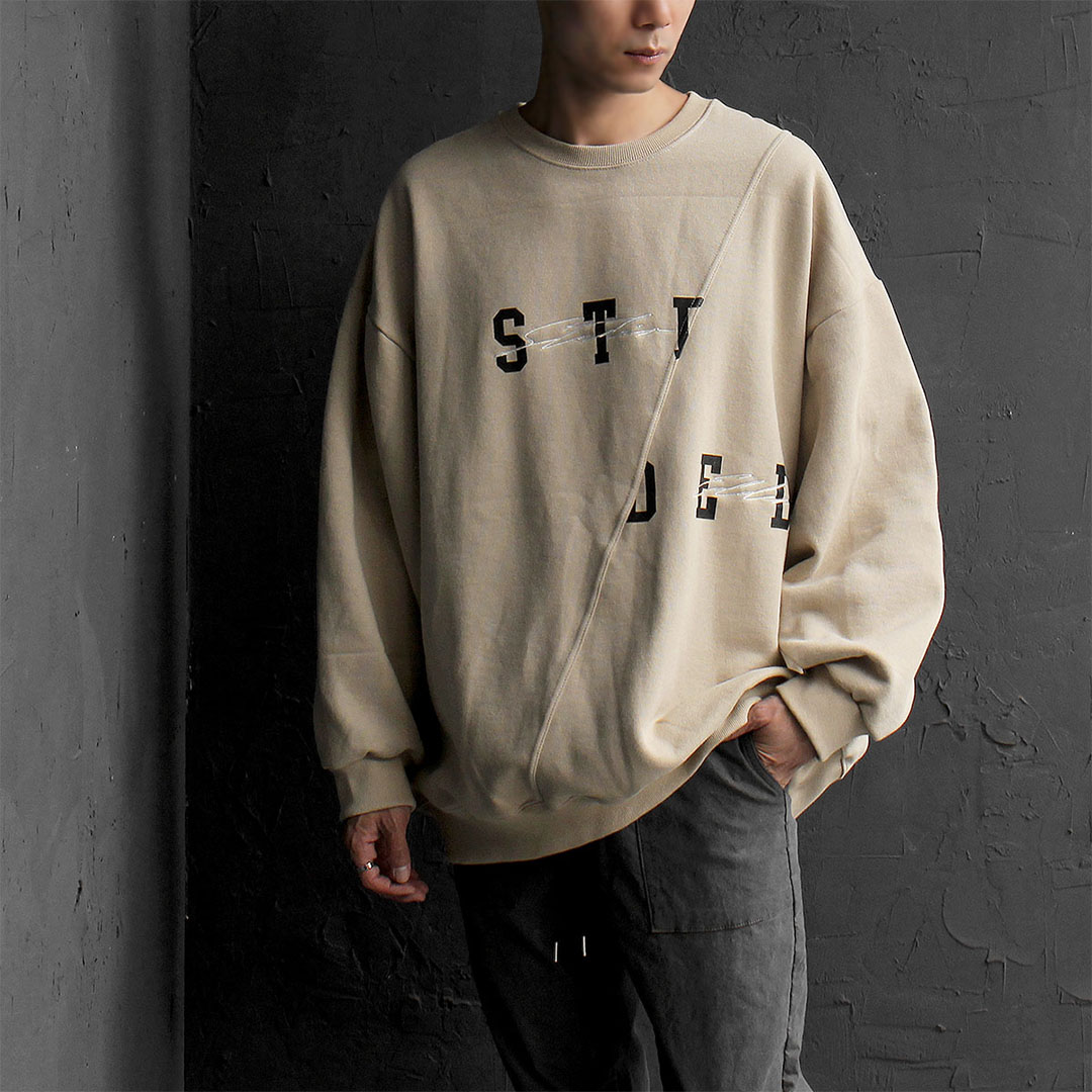Oversized Diagonal Seaming Logo Printing Sweatshirt 723