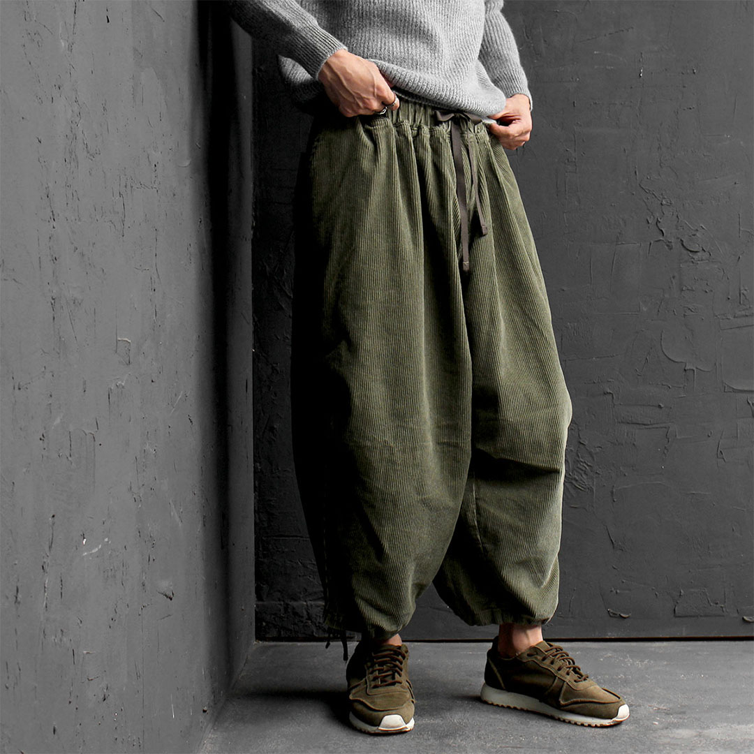 Oversized Corduroy Low Crotch Wide Baggy Pants 733