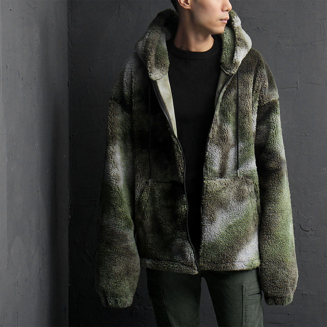 Camouflage Synthetic Lamb Fur Over sized Long Hood Jacket 805