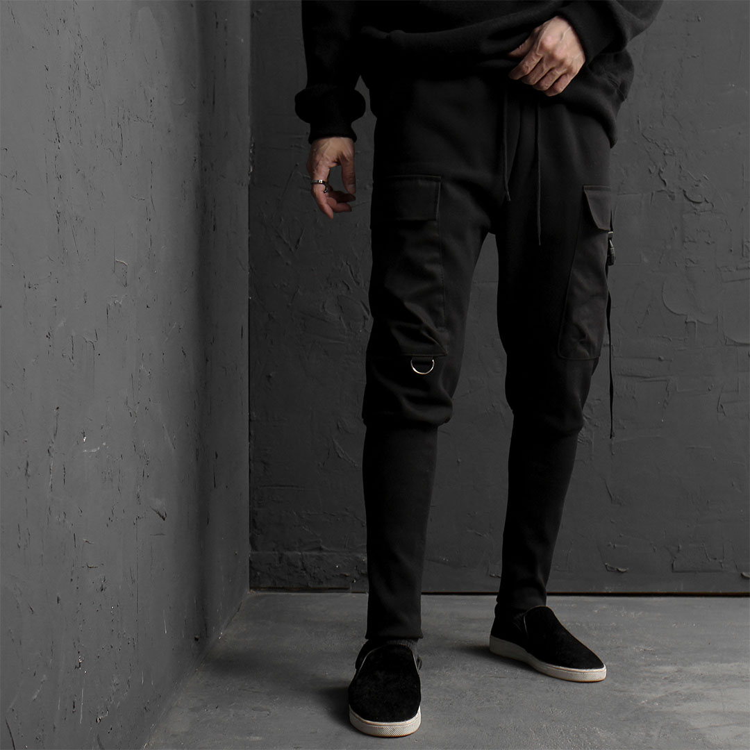 Unbalanced Cargo Pocket Long Ribbed Hem Joggers 814