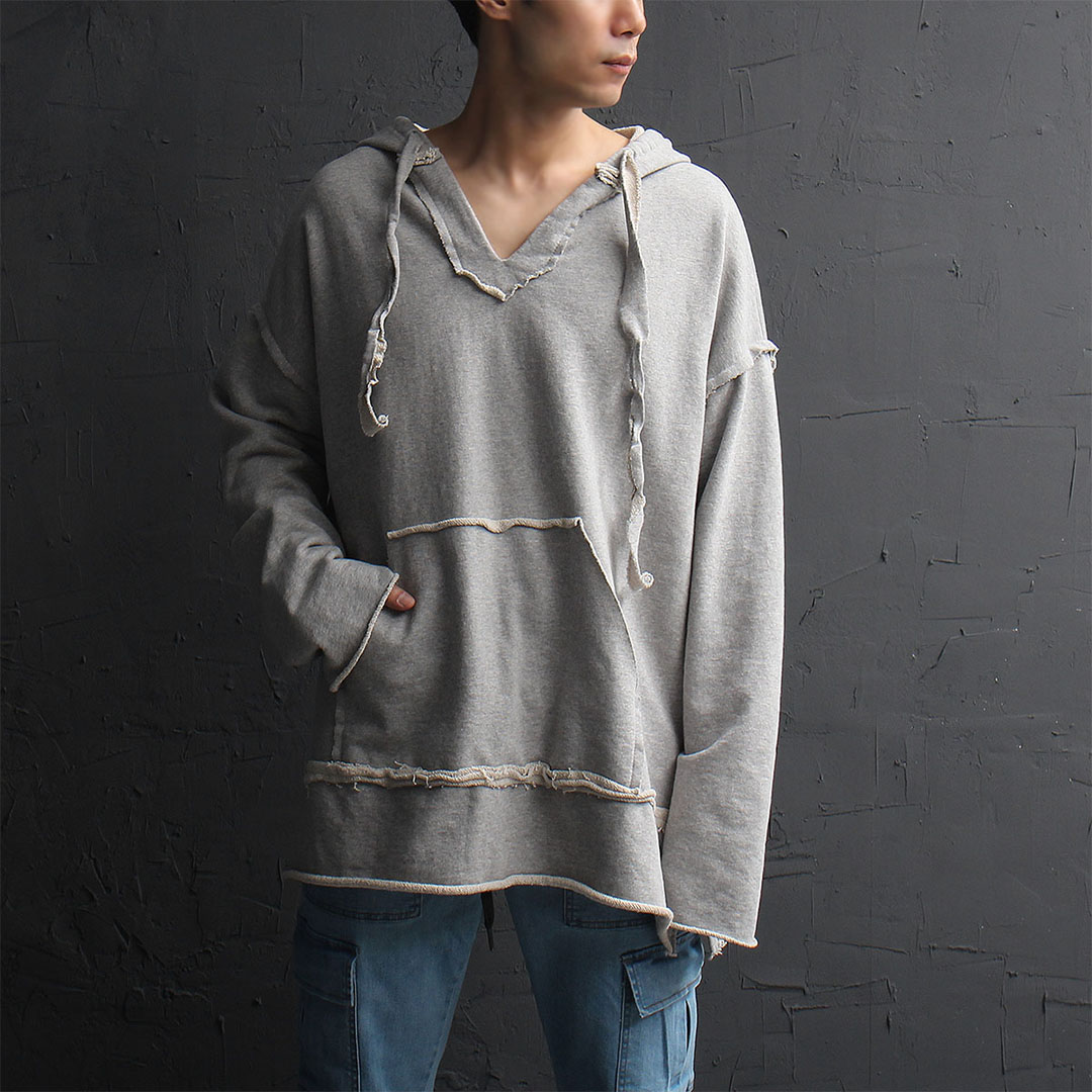 Oversized Vintage Reversed V Neck Hoodie 862