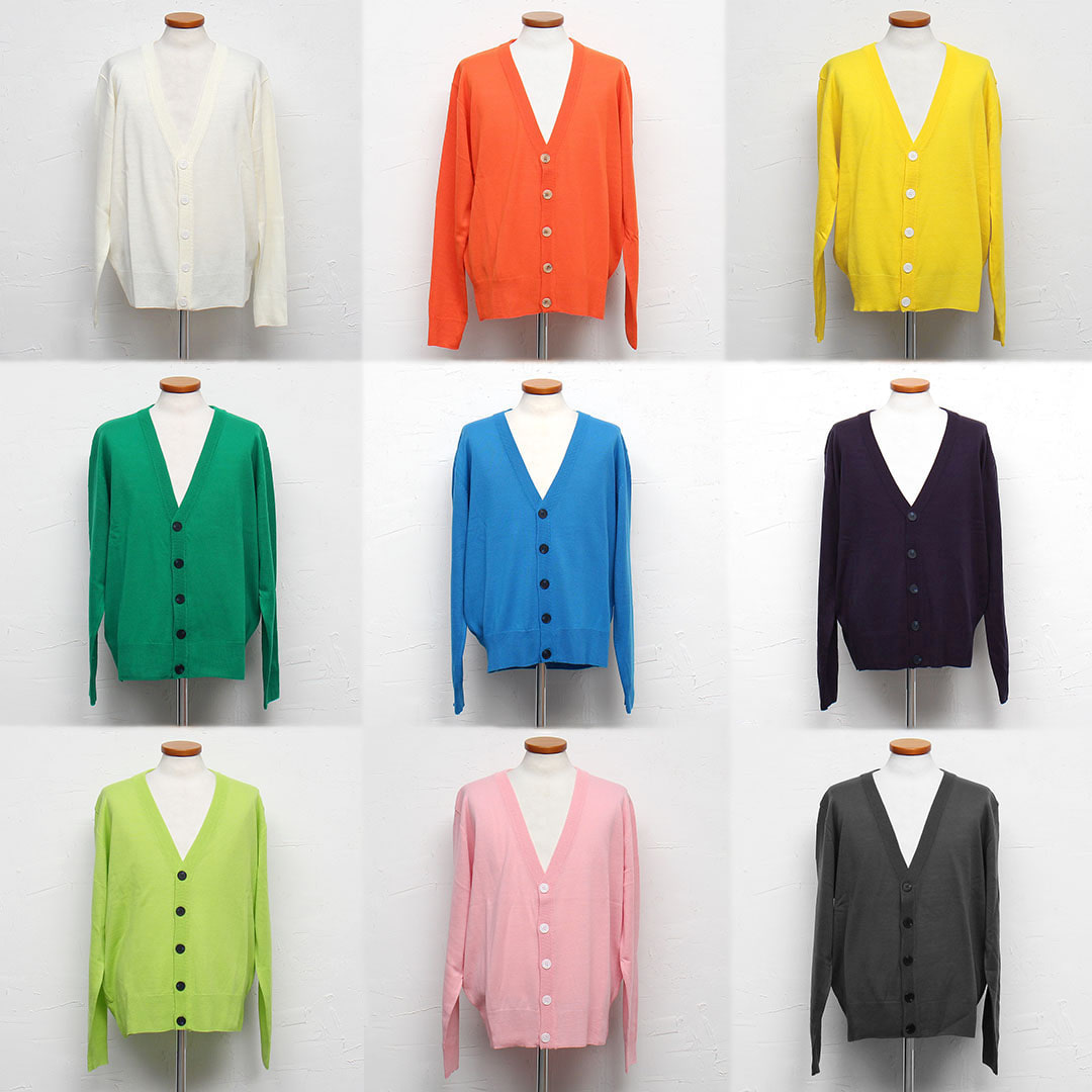 Loose Fit Vampire Logo Styling Color Knit Cardigan 869