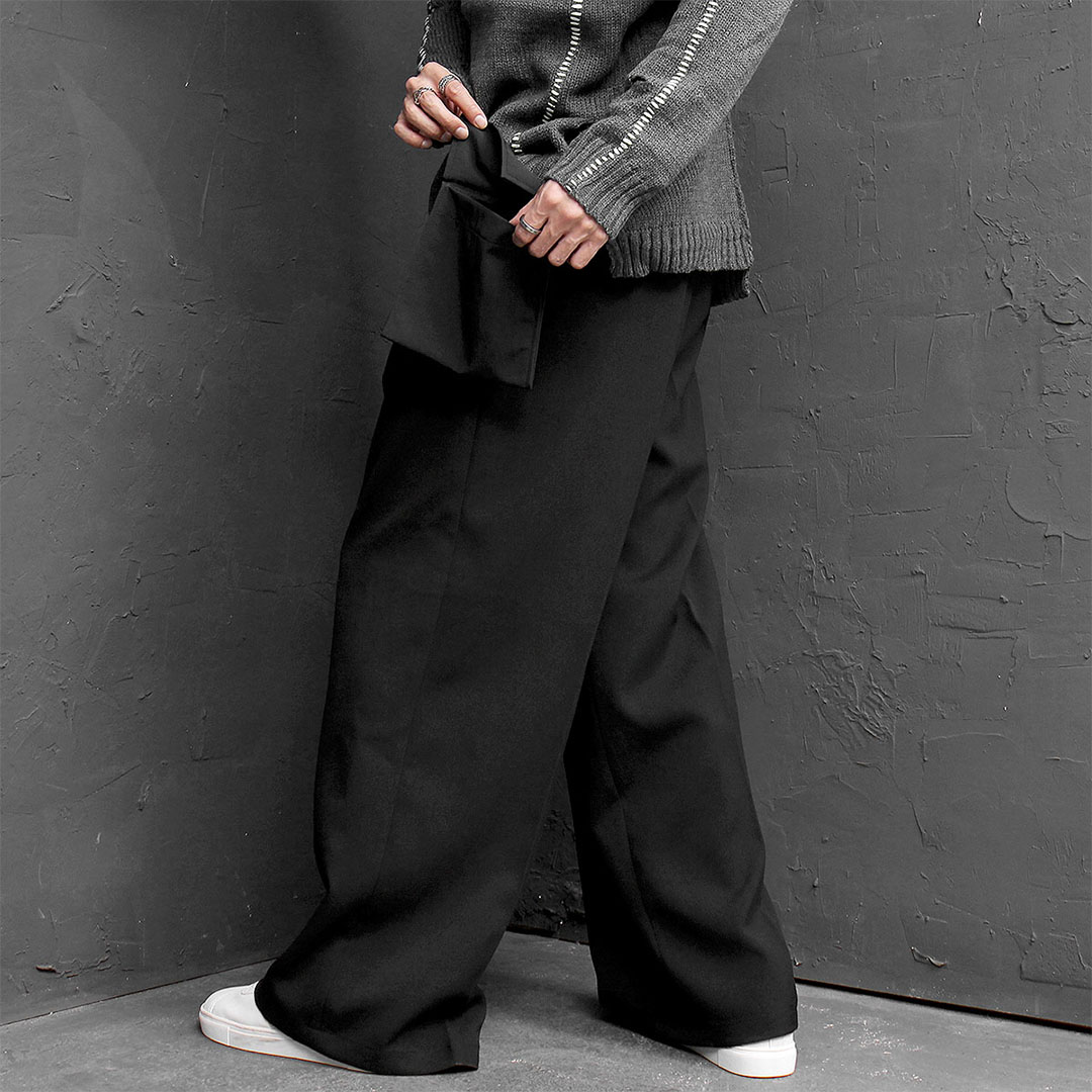 Oversized Loose Fit Mini Bag Wide Slacks Pants 704