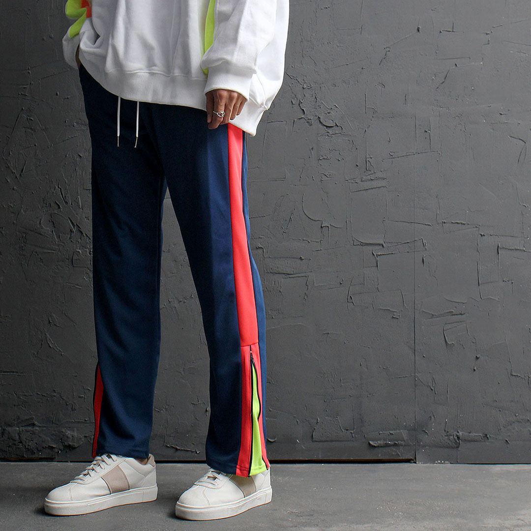 Contrast Side Line Split Zippered Hem Jersey Sweatpants 881