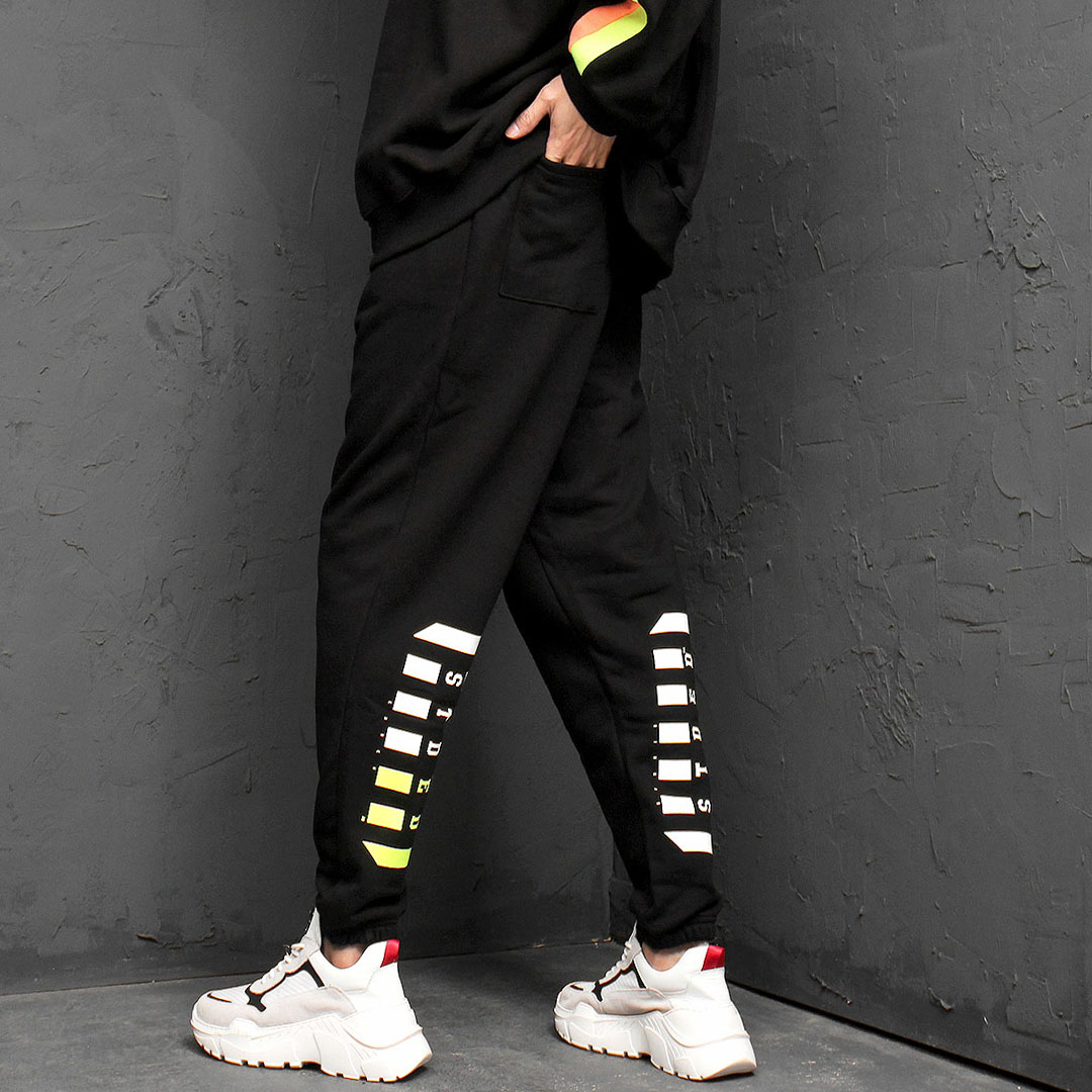 Low Crotch Back Printing Baggy Sweatpants 898