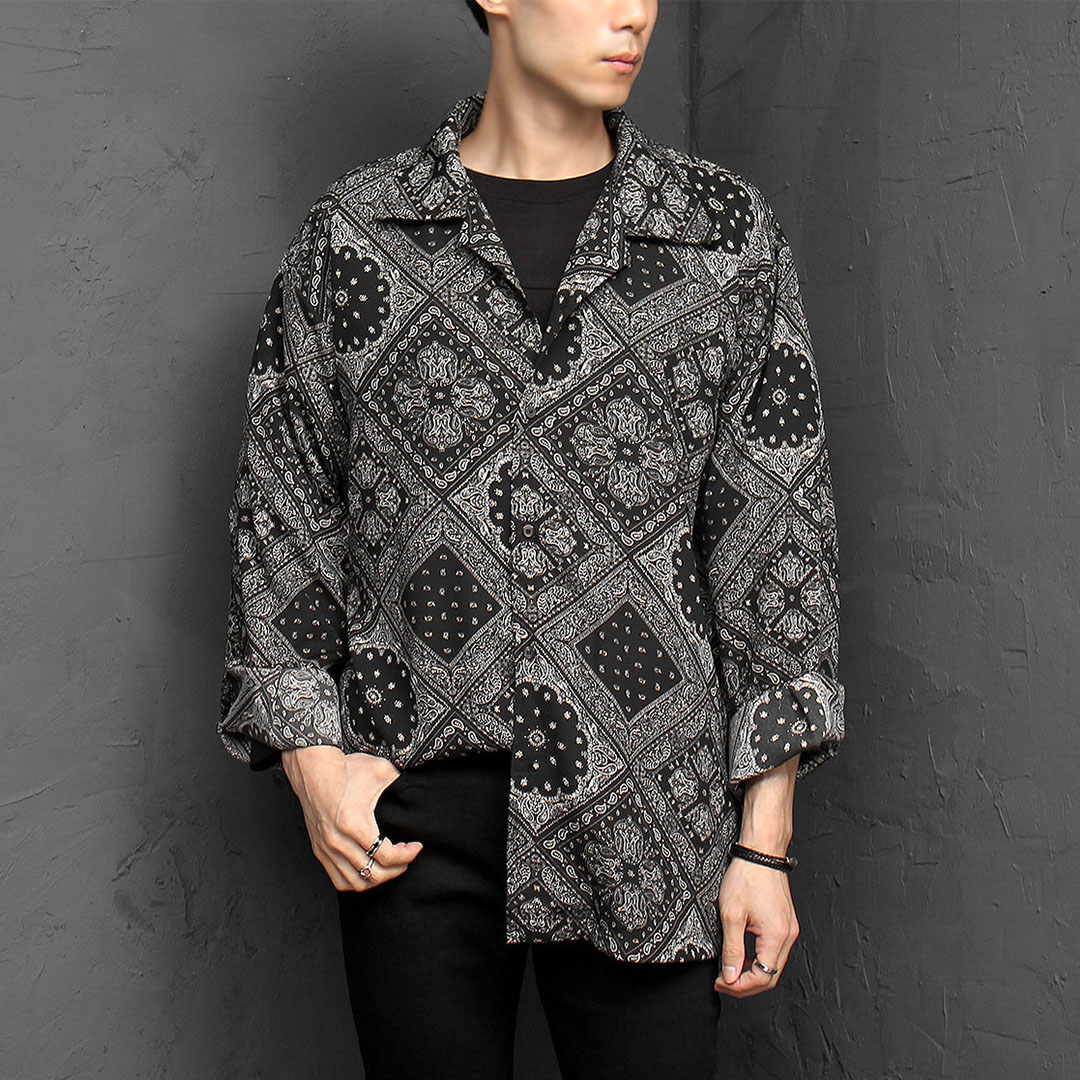 Oversized Silky Paisley Graphic Printing Shirt 927