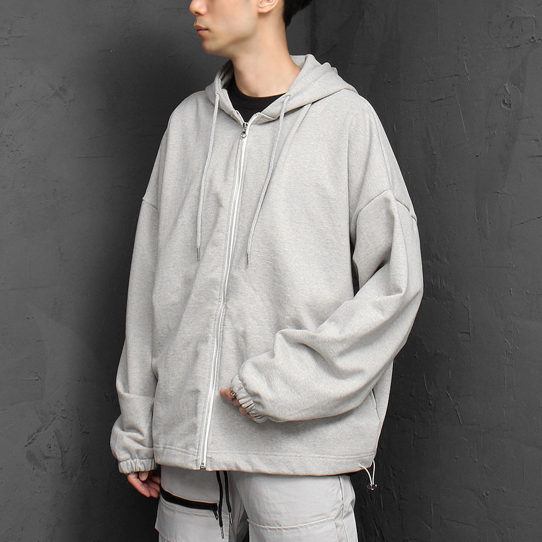 Oversized Draw String Zip Up Hoodie 934