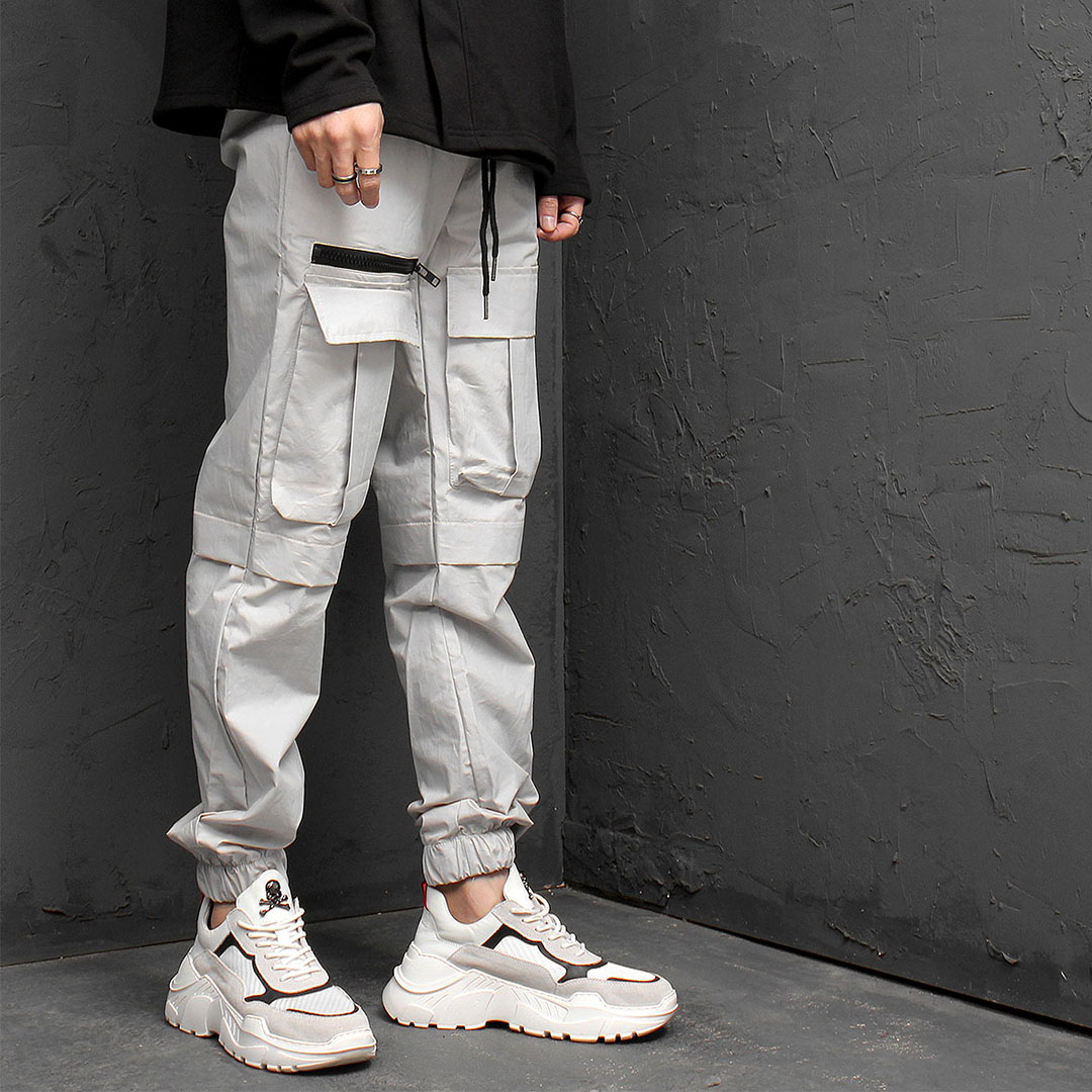Zipper Front Cargo Pocket Jogger Pants 940