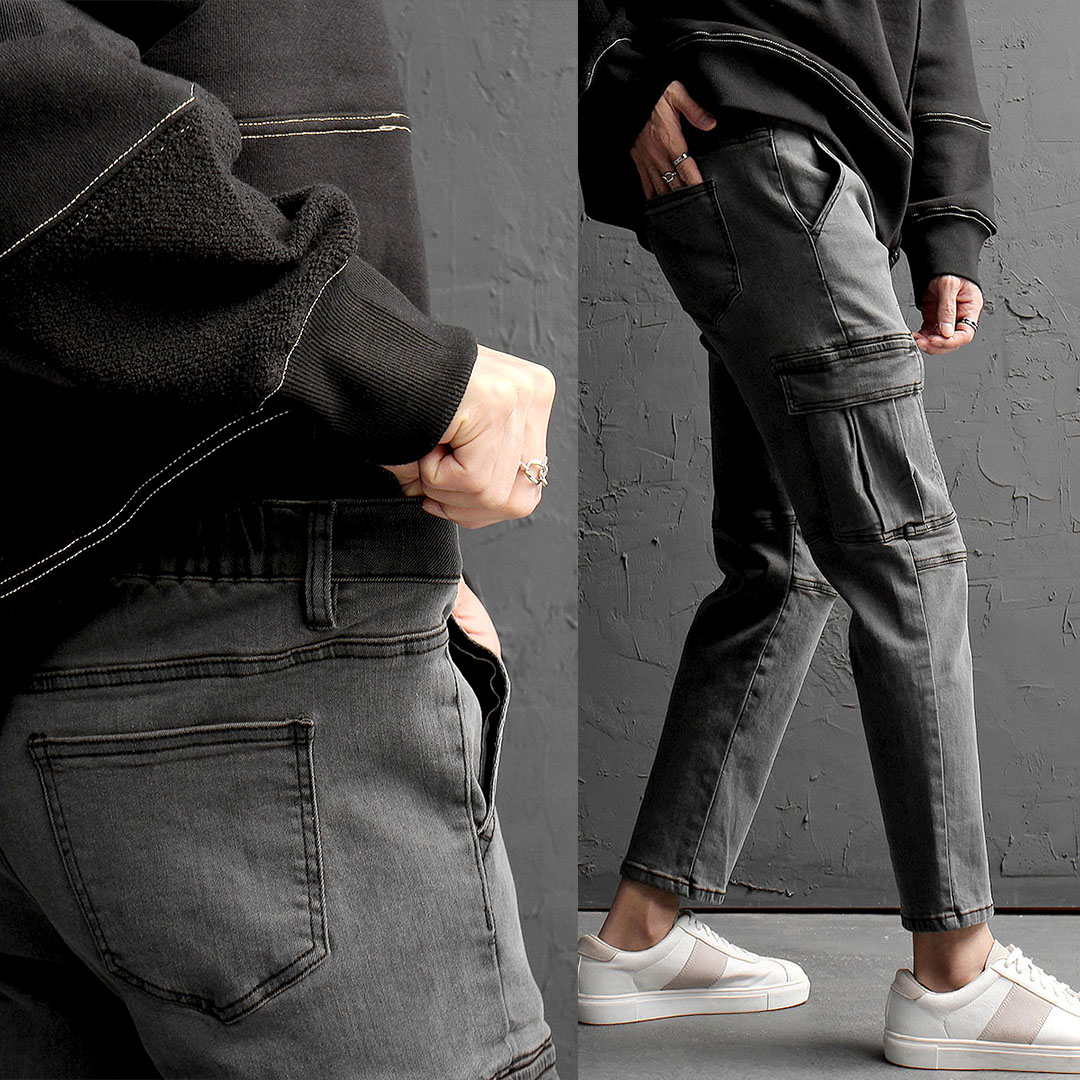 Elastic Waist Cargo Pocket Stretchable Denim Pants 851
