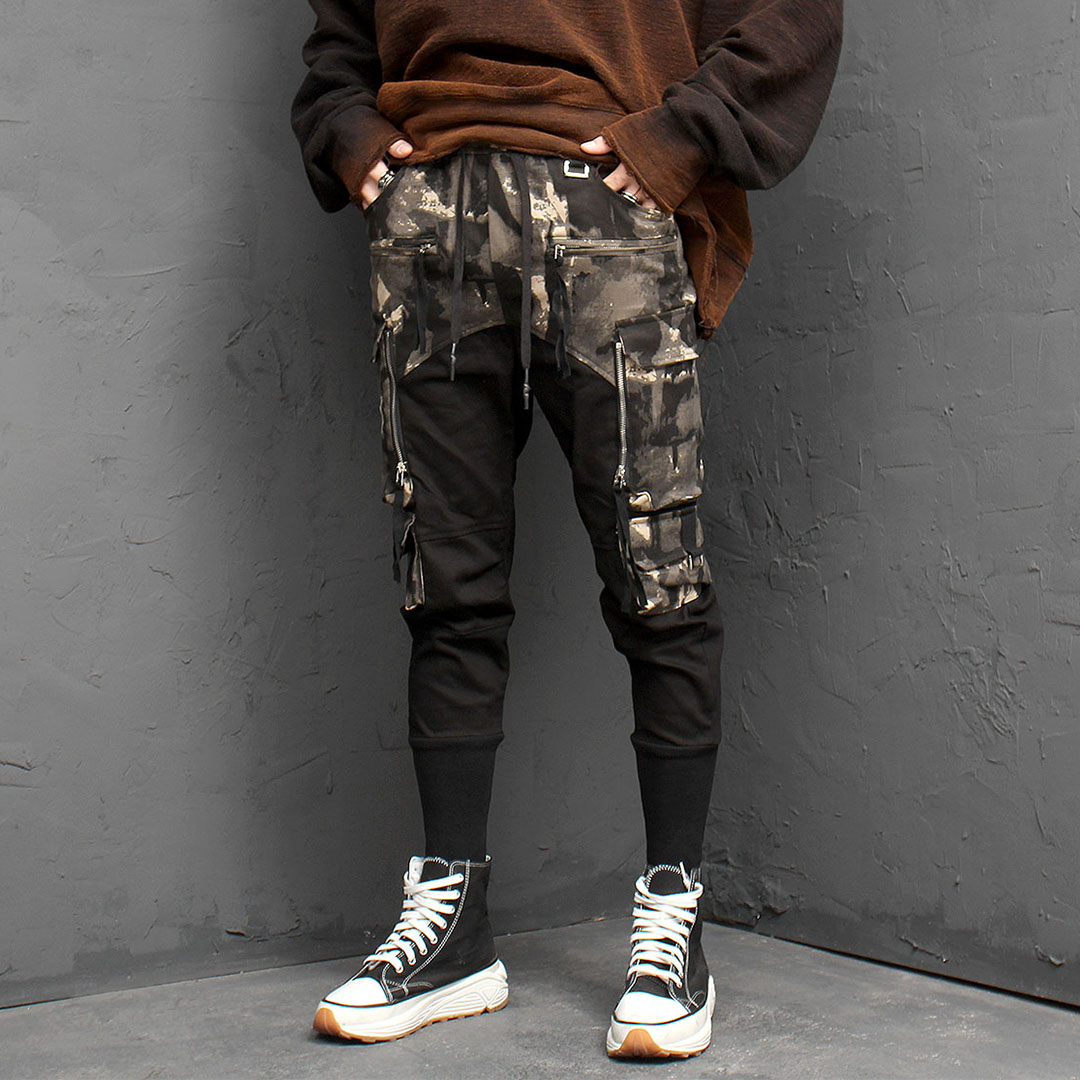 Camouflage Long Ribbed Hem Cargo Pants 977