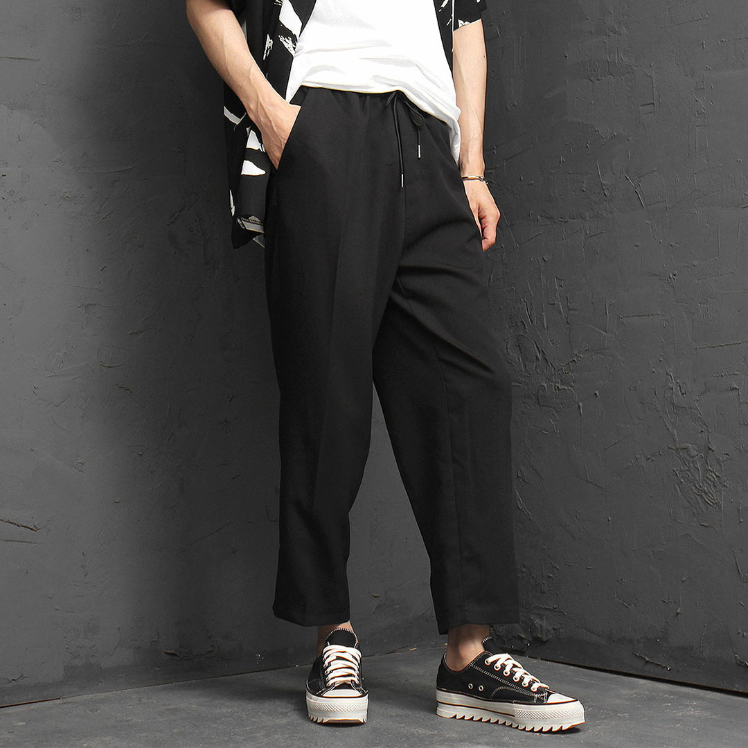 Elastic Waistband Wide Slacks Pants 1054