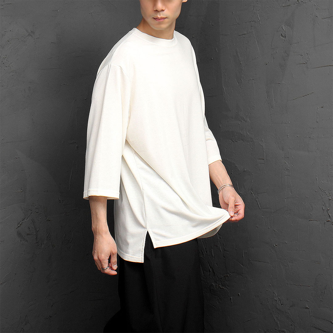 Loose Fit Split Side 3/4 Sleeve Tee 1055