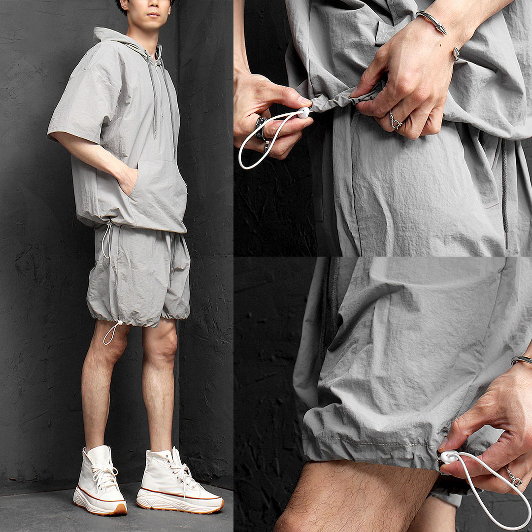 Water Proof Anorak Half Sleeve Shorts Gym Wear Set 1068