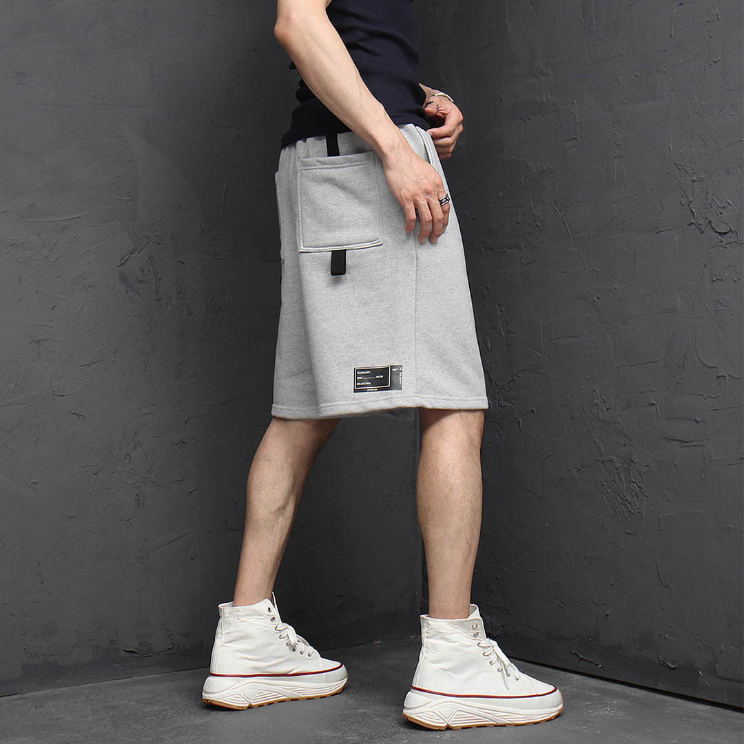 Back Webbing Strap Line Printing Short Sweatpants 1132