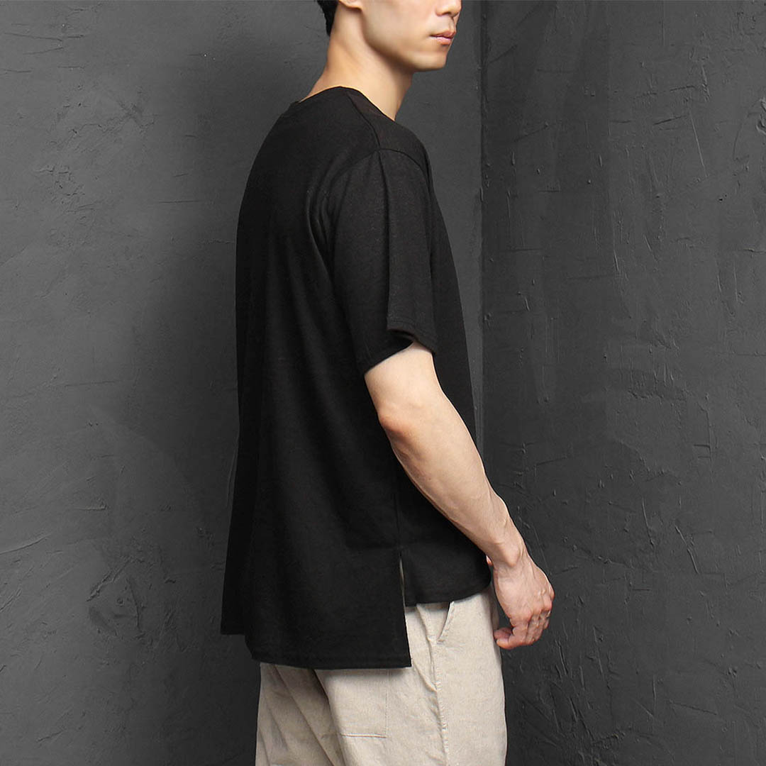 Linen Unbalanced Hem Split Side Tee 1138