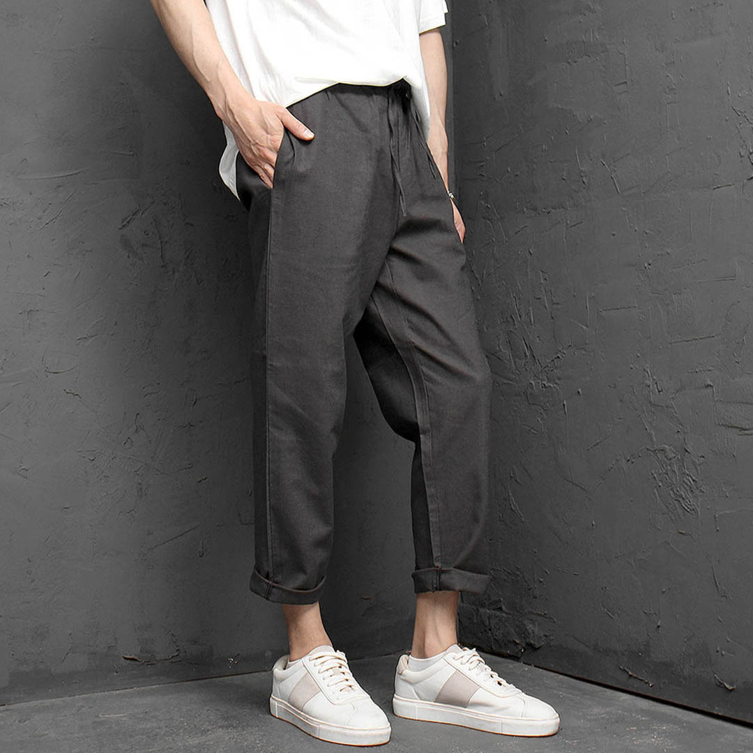 Elastic Waistband Summer Linen Slacks Pants 1147