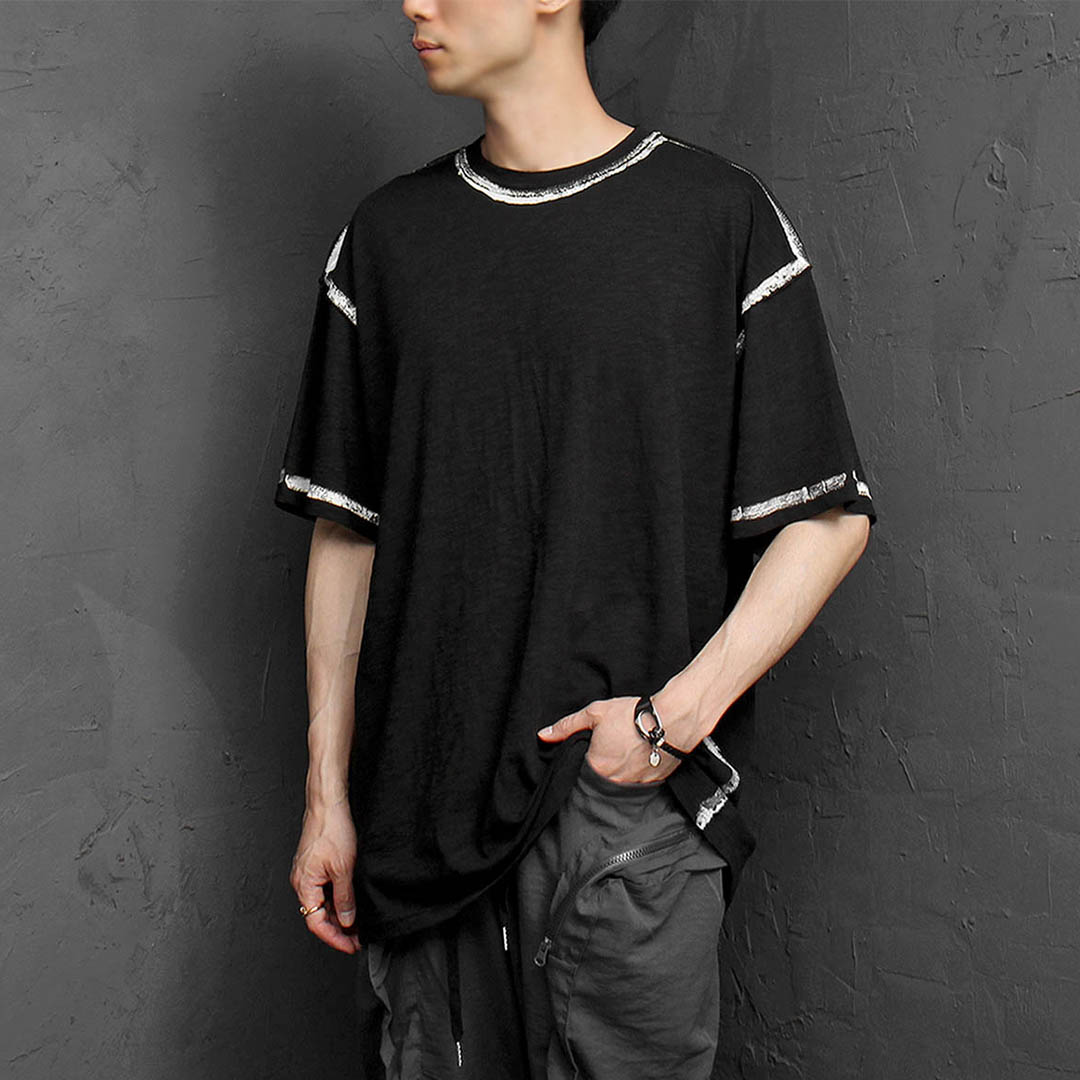 Loose Fit Line Painting Short Sleeve Tee 1169