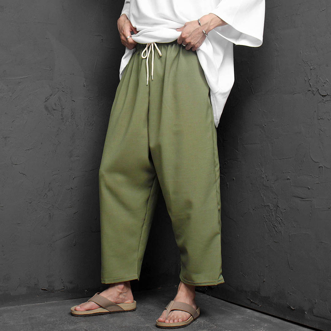Elastic Waistband Drop Crotch Wide Baggy Pants 1174