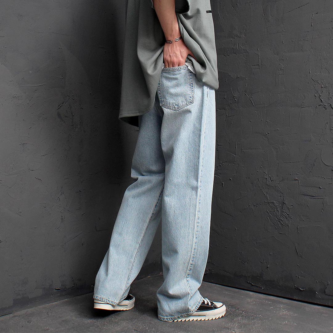 Wide Faded Light Blue Denim Pants 1249